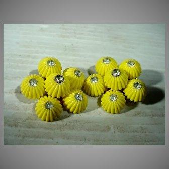 Yellow Flower Coro Summer Clip On Earrings, 1950's