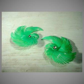 1950's Unique Plastic Summer Clip On Earrings!