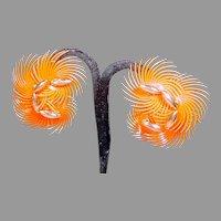 Vintage Orange Flower Summer Clip-On Earrings, 1950's