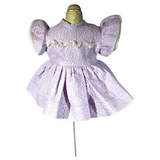 Cute Lavender Cotton Pique Doll Dress, 1950's