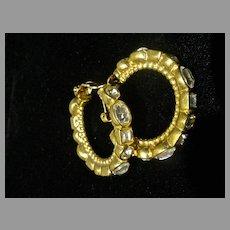 Elegant Rhinestone Encrusted Hoop Clip On Earrings, 1980's