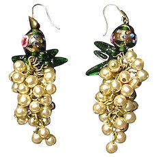 Dramatic Murano Glass Bead and Faux Pearl Drop Earrings, 1990's