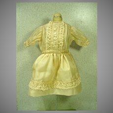 Vintage Off White Silk Doll Dress with Soutache Trim, 1960's
