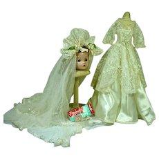 Vintage Madame Alexander Cissy Size Wedding Ensemble, 1950's