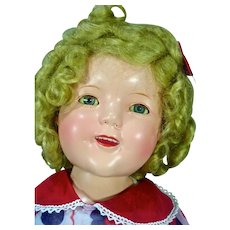 """Ideal 18"""" Composition Shirley Temple Doll Beautiful Coloring & Wig, 1930's"""
