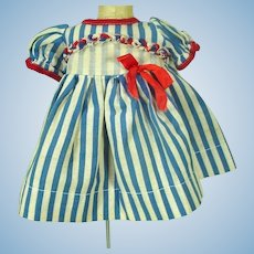 Charming Blue & White Stripe Summer Doll Dress, 1950's