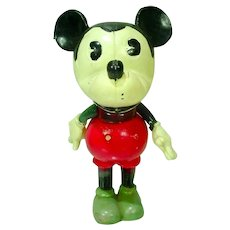 Rare 1930 Mickey Mouse Hand Painted Celluloid Figure+Orig. Paper Labels