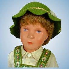 """Vintage Kathe Kruse 16"""" Boy Doll, All Orig. 1960's, Turtle Mark"""
