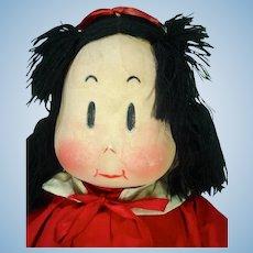 VIntage Little Lulu Cloth Doll, 1944, Georgene w/Tag