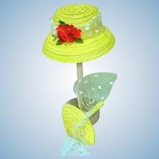 Madame Alexander Cissette Size Yellow Straw Hat & Purse, 1990's