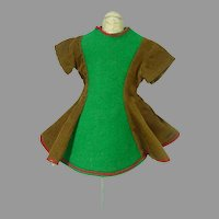Vintage 1960's Doll Dress, Green Felt and Brown Cord
