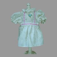 Vintage 1980's Cotton Eyelet Doll Dress