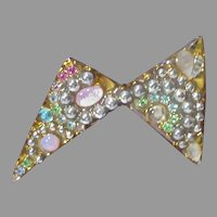 Abstract Metal and Stone Brooch, 1980's Fernella's Jools, N.Y.C.