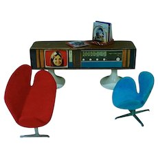 1960's Dollhouse Size Furniture, Television/Stereo and More