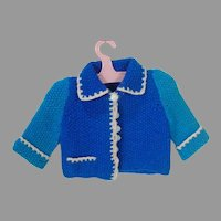 VIntage Blue Knit Wool Doll Cardigan Sweater, 1950's