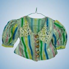 Beautiful, Vintage Ribbon Stripe Satin Doll Jacket, 1930's