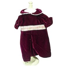 Elegant Burgundy Velvet Doll Dress, 1970's