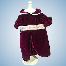 Elegant Burgundy Velvet Doll Dress, 1970's