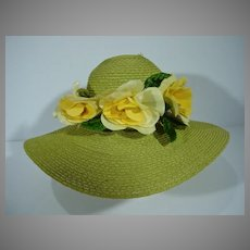 Vintage Madame Alexander Cissy Picture Hat with Roses, 1950's