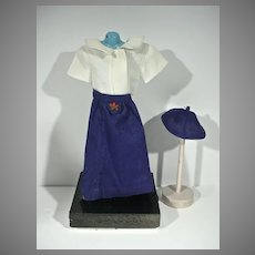 """VIntage Doll Camp Fire Girl Uniform, 1950's for 12"""" Doll"""