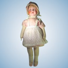 Vintage 1930's Jointed French Cloth Doll, 25 Inch