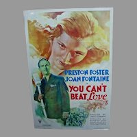 """Vintage Original 1937 One Sheet Movie Poster """"You Can't Beat Love"""""""