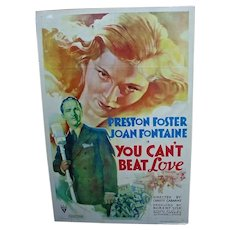 "Vintage Original 1937 One Sheet Movie Poster ""You Can't Beat Love"""