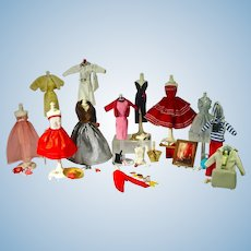 "Large Vintage 1960's 11 1/2"" Fashion Doll Clone Wardrobe & Accessories"