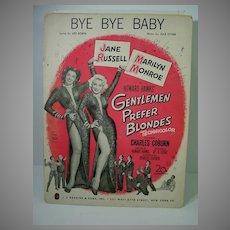 Original 1953 Sheet Music, Marilyn Monroe&Jane Russell, Gentleman Prefer Blonds 1953
