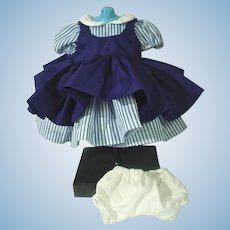 Vintage Blue and White Doll Dress with Navy Pinafore and Slip