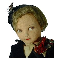 """18"""" 1930's Jointed Cloth Doll, All Original"""