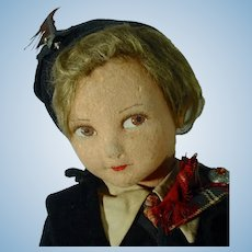 "18"" 1930's Jointed Cloth Doll, All Original"