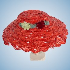 Madame Alexander Elise Size Red Straw Hat, 1950's