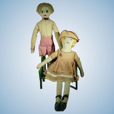 VIntage Pair of Boy & Girl Cloth Dolls, 1920's, Cute!