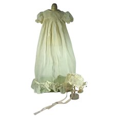 Vintage Baby Doll White Gown with Matching Bonnet, 1950's