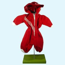 Vintage Red Cotton Hooded Doll Ski Suit, 1950's