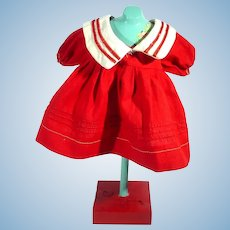 Red Cotton Doll Dress with Sailor Collar, 1950's