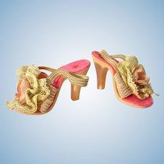 Vintage Madame Alexander Cissy White & Pink Flower High Heels, 1950's