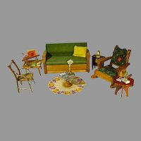 "Vintage Living Room Set w/ Accessories, for 8 -10"" Dolls, 1950's"