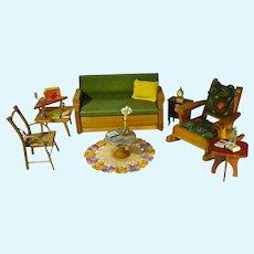 "Vintage Living Room Set w/ Accessories, for 8 -10"" Dolls, 1950's"