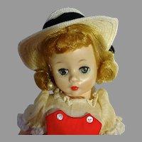 VIntage Madame Alexander Cissette in Red Dress w/white Straw Hat, 1960