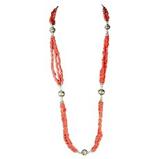 Multi Tone Small Chunk Coral and Sterling Necklace
