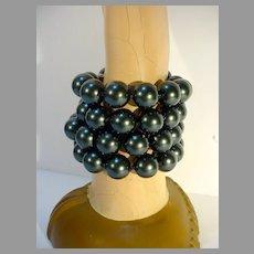 Vintage M&J Savitt Four Strand 12MM  F aux Black Pearl and Sterling Bracelet