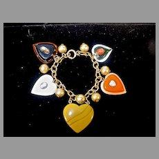 "Bakelite and Resin Fun ""Heart Theme"" Bracelet"
