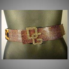 Fabulous Dolce & Gabbana, Leather and F aux Leopard Slide Belt