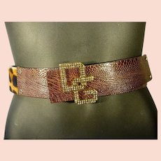 Fabulous Dolce & Gabbana, Leather and F aux Leopard Slide Belt