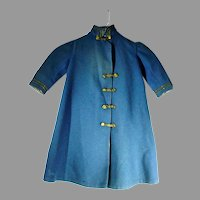 Vintage Wool Doll Coat, Blue w/Brass Buttons&Gold Braiding, 1940's