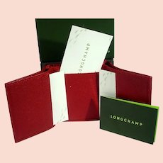 Vintage Longchamp Red Calfskin Leather Trimmed with Cowhide Leather Wallet, MIB