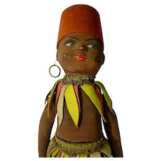 1930's Vintage African Native Doll Paper Mache & Silk & Felt Candy Container