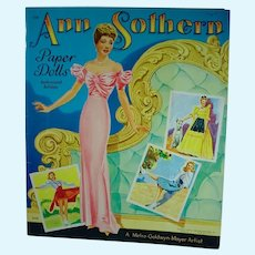 Vintage Saalfield Ann Southern Paper Dolls, 1943, Mint and Un-Cut